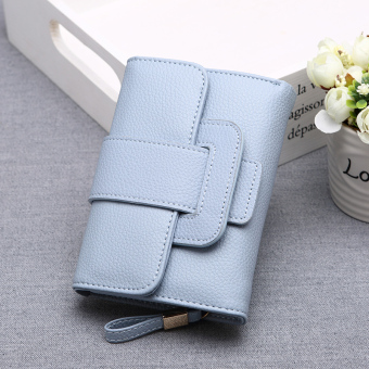 Guojunzhu Japan and South Korea New style long women's leather wallet (Blue)