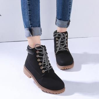 Hang-Qiao Fashion Women Ankle Martin Boots Military Combat Shoes Black