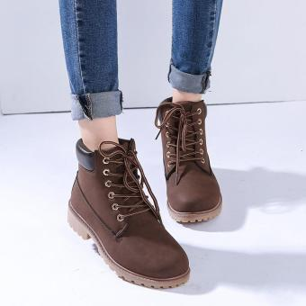 Hang-Qiao Fashion Women Ankle Martin Boots Military Combat Shoes Brown