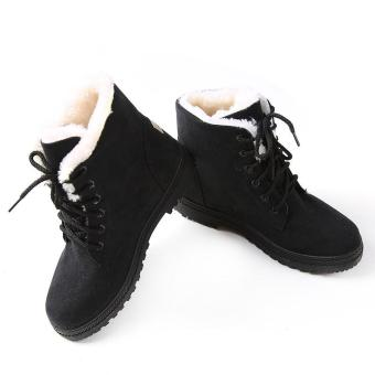Hang-Qiao Snow Boots Winter Ankle Boots Women Shoes Plus VelvetPlat Shoes Black - Intl