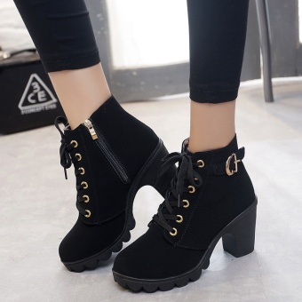 Hanyu Autumn Winter Women Lady PU Leather High Heel Martin Ankle Zipper Boots Shoes Black - intl