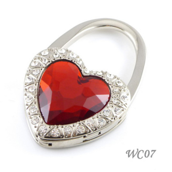Heart-shaped diamond set lock bag hook (Red 07)