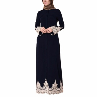 Hequ Muslim Women Embrodered Cuff Lace Dress Abaya Islamic Chiffon Maxi Dress Black - intl