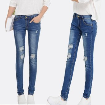 Hot Fashion Ripped Skinny Jeans Ladies Cotton Denim Pants StretchWomens Bleach Denim Jeans For Female -8862Blue - Intl
