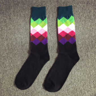 I British style striped men's medium-length tube socks (Gradient color)