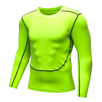 I fitness short sleeved men's slim fit quick drying clothes (New style green long-sleeved)