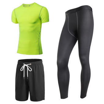 I quick-drying basketball short sleeved t-shirt fitness clothes (Green short sleeved + black pants)