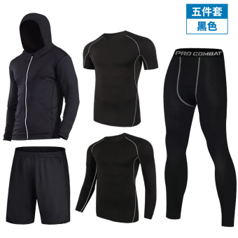 I running fitness room slim fit clothing fitness clothing (721 black five pieces set)