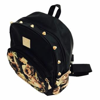 Isabel K030 Korean Fashion Backpack (Black Rose)