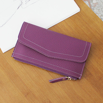 Japan and South Korea female student multi-functional clutch bag women's wallet (Purple)