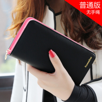 Japan and South Korea female zip student clutch bag women's wallet (Black)