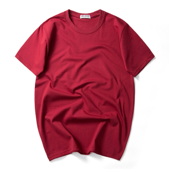 Jindengshi summer extra-large Plus-sized short sleeved t-shirt shirt (Red Wine)