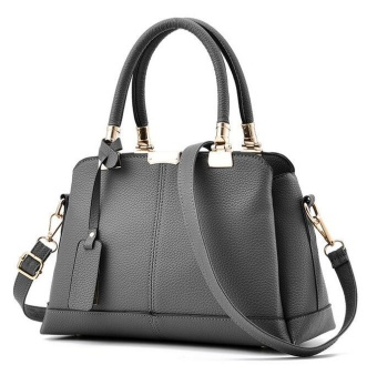 JOY Fashion Handbag Shoulder Bag Messenger Large Tote Leather Purse for Women Grey - intl