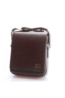 Kangaroo Kingdom Men's Vertical PU Shoulder Bag Messenger Bag - Size M Brown