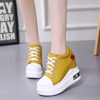 Korean-style autumn New style platform shoes female shoes (Yellow)