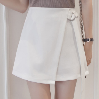 Korean-style bandage cloth high-waisted slimming A-line dress irregular skirts (White)