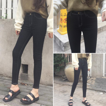 Korean-style black stretch Slim fit pencil pants