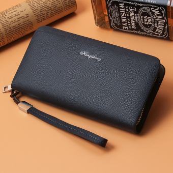 Korean-style business clutch bag long zip wallet (Blue)