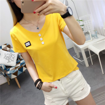 Korean-style cotton female Slim fit wild bottoming shirt short-sleeved V-neck T-shirt (Yellow)