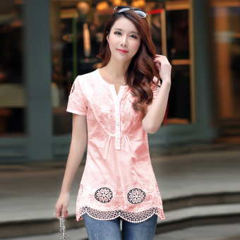 Korean-style cotton long section Short sleeve loose short-sleeved t-shirt (Pink)