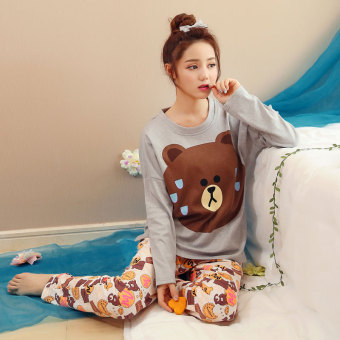 Korean-style female autumn long-sleeved cotton tracksuit pajamas (Deep Brown)
