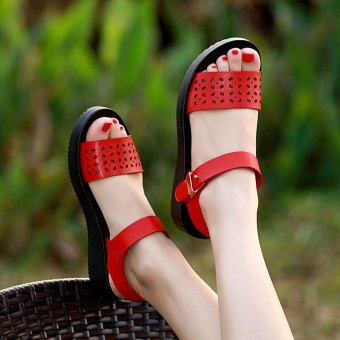 Korean-style female flat student sandals New style sandals (Red)