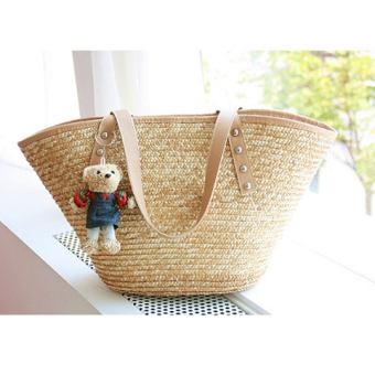 Korean-style female rattan woven bag beach bag simple shoulder bag (Today to send Bear straw color) (Today to send Bear straw color)
