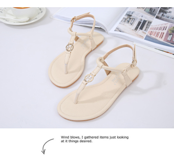 Korean-style Female Summer New style flat flip-flop sandals (Beige)