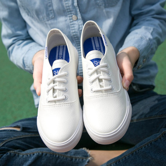 Korean-style leather female student low top lace canvas shoes BayMini shoes (Leather-white)