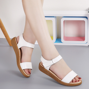 Korean-style leather female student maternity shoes sandals (White)