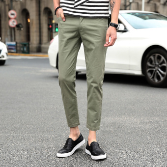 Korean-style men Slim fit skinny ankle-length pants thin casual pants (Army Green)