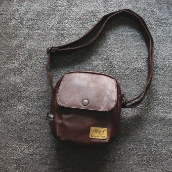 Korean-style new men's bag small shoulder bag (Deep Brown) (Deep Brown)