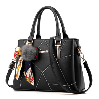 Korean-style shoulder cross-body killer bag women's bag (Black embroidery scarf)