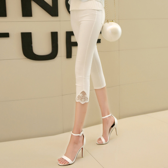 Korean-style Slim fit thin skinny pencil pants Capri pants (Lace paragraph white)