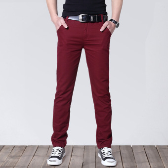 Korean-style Slim Fit Youth Summer skinny pants men's casual pants (Purplish red)