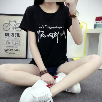 Korean-style slimming women's short sleeved t-shirt (5049 black)
