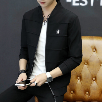 Korean-style Spring and Autumn New style thin section men jacket men's jacket (Black)