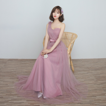 Korean style wedding sisters dress slimming bridesmaid dress (A) (A)