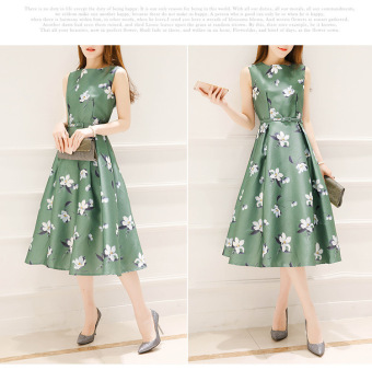 Korean-style white New style printed A-line dress (Green)