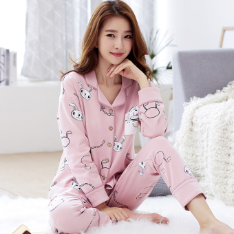 Korean-style women's cotton long-sleeved thick tracksuit pajamas (A6945 #)