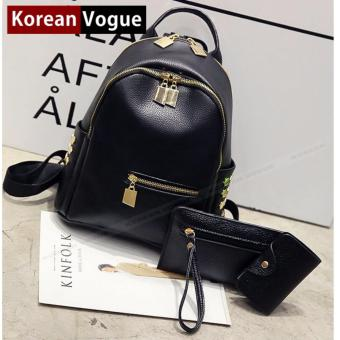 Korean Vogue 3 Pieces KV4002 Mysterious Black Series StudentSynthetic Leather Women Backpack Bag Set (Black)