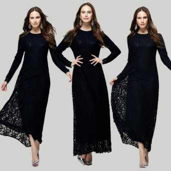 Lace Muslim dress women muslim clothes muslim women long dressislamic clothing for women islamic prayer dress- Black - intl