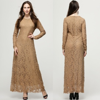 Lace Muslim dress women muslim clothes muslim women long dressislamic clothing for women islamic prayer dress- Khaki - intl
