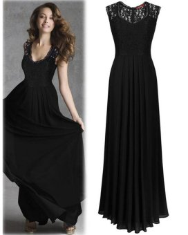 Ladies Evening Dresses Sleeveless Long Designer Evening Gowns Chiffon Party Dress Lace Hollow Out Formal Dresses Black - intl