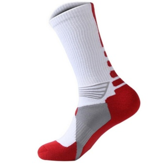 LALANG Men Professional Sport Basketball Thickening Socks (White) - intl