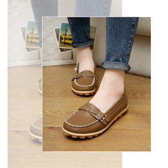 LALANG Women Casual Loafers Leather Round Toe Flat Shoes (Khaki) -intl