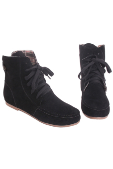 LALANG Women Flat Heel Lace-Up Knight Boots Martin Boots CasualBlack