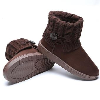 LALANG Women Snow Boot Ankle Short Boots Winter Warm Platform Shoes Coffee