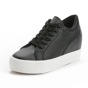 Leather black white autumn and winter New style BayMini shoes (Black)