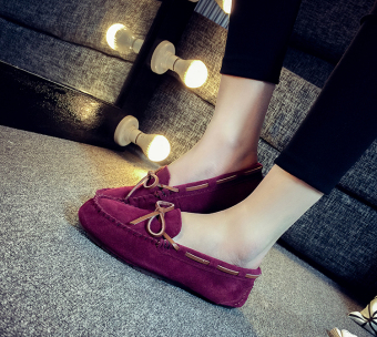 Leather female flat Plus-sized comfortable casual shoes peas shoes (Wine red color)